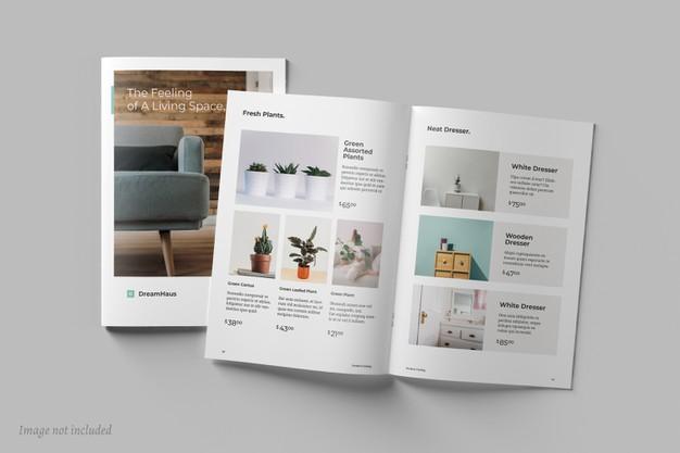 Top View Brochure Catalog Mockups 258438 388